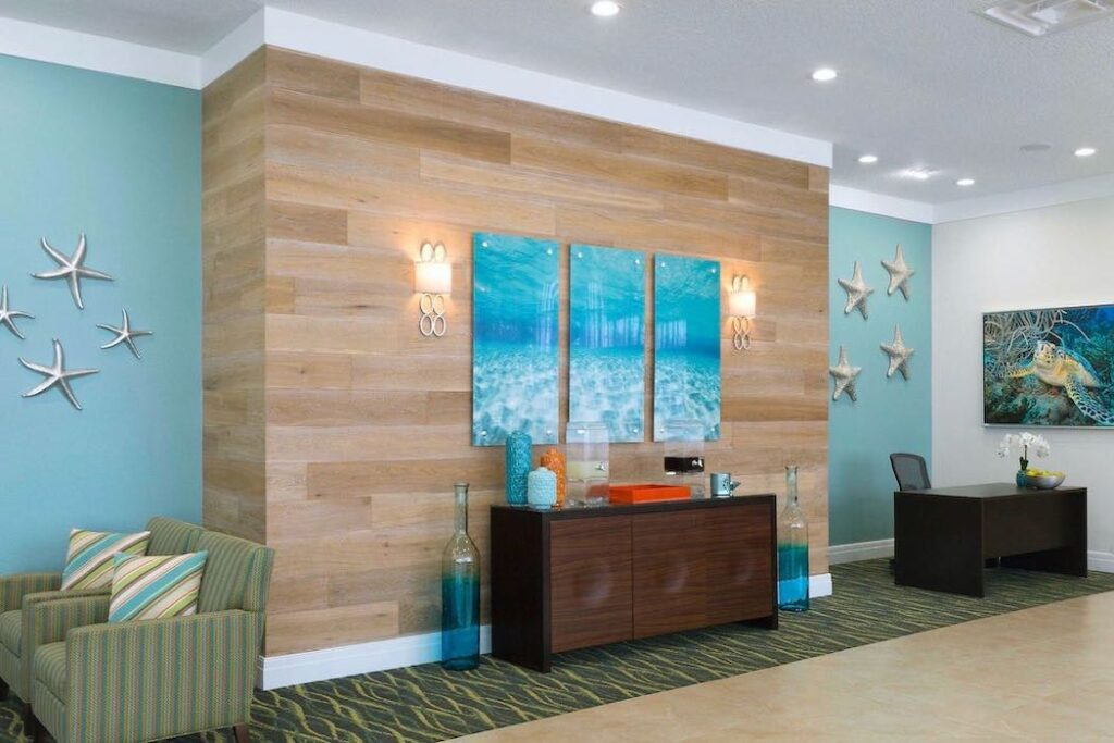 grand seas by exploria resorts hotel lobby reception ff&e and interior design by sena hospitality design